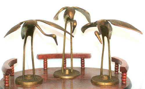 Set of 3 Vintage Solid Brass Crane Décor
