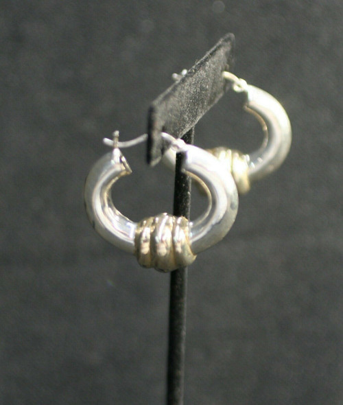 Pre-Owned 925 Silver W/ Gold Accents Puffed Hoop Earrings