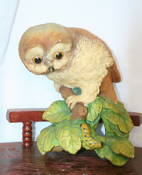Bossons Owlet Owl on Branch Chalkware Wall PlaqueCongelton England 1965 RB25