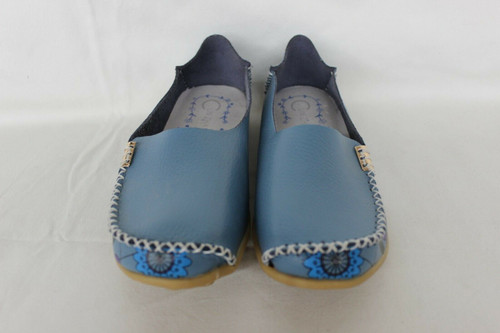 Cun Zha Womens Loafers Driving Shoes Slip On Floral Leather Blue Size 38 - 7-7.5