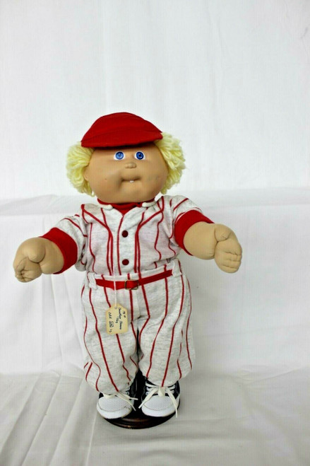 """Vintage Cabbage Patch Doll Boy Blonde Hair Blue Eyes Has Mark On Face 16"""""""