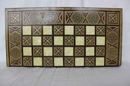 Incredibly Complex Geometry Inlaid Backgammon Set With Chess Board.