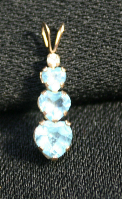 Pre-Owned Women's Topaz & Clear Stone Graduated 10K Pendant