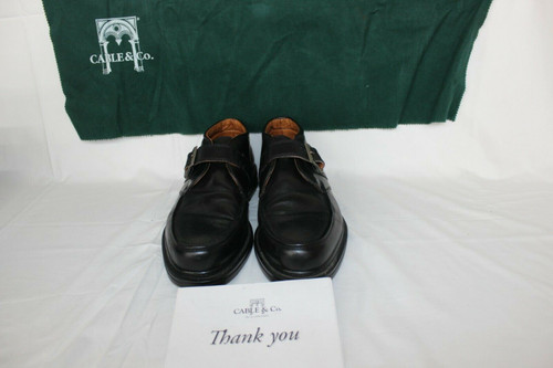 Cable & Co Black Leather Monk Strap Buckle Dress  Loafers Italy 10 D