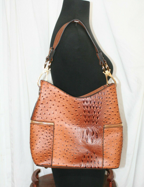 Pre-Owned Unbranded Brown Croc Print Faux Leather Bucket Purse