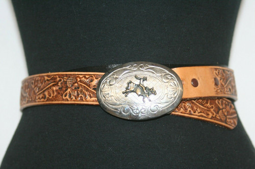 NWT Justin Tooled Leather Brown Western Cowboy Belt 26 W/ Bull Rider Buckle~  26