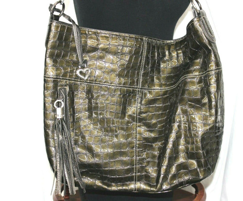 Pre-Owned Brighton E-524500 Olive Croc Print Patent Leather Large Purse