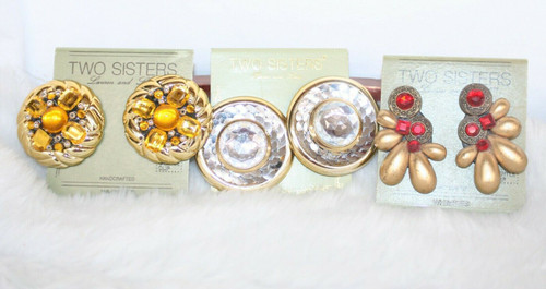 Vintage Lot of 3 Pairs Two Sisters Clip Style Earrings