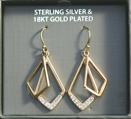 Pre-Owned Sterling Silver Dangle 18K Gold Plated Geometric Double Shaped Earring
