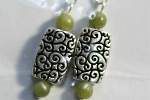 NIP Celtic Earrings Sterling Silver Hook Connemara Marble Ireland