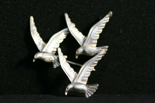 Vintage Lot Of 2 Sterling Silver Beau Dove Brooches