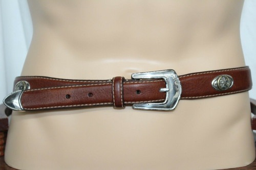 Pre-Owned Men's Brown Leather Belt W/ Silver Golf Accents Sz. 34