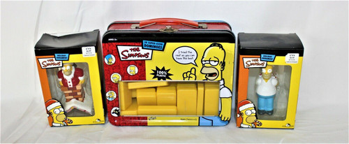 The Simpsons RARE 28 Super Size Dominoes Lunch Pail Set W/2 Ornaments