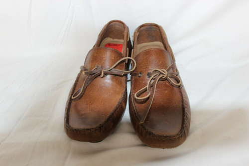 Crevo Mens Kroozer Driving Moc Boat Shoes Chestnut Brown Leather Size 8