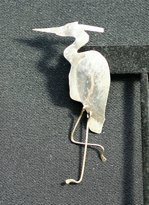 Pre-Owned Newman Sterling Silver Heron Brooch/Pin W/ Movable Legs