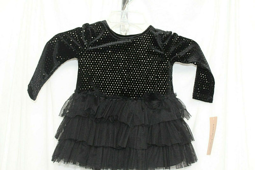 NWT Girls Nanette Lepore Black Sequins/Tulle Top W/ Long Sleeves Sz. 2T