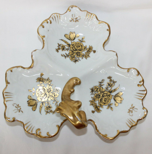 Vintage Hand Painted White Gold Roses Porcelain Dish Serving Tray Numbered 4009