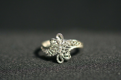 """Pre-Owned Sterling Silver Filigree Ring - No Stone - Size 7.5"""""""