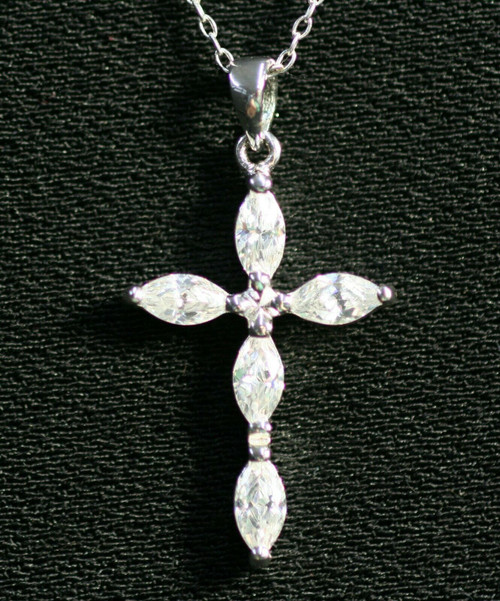 Pre-Owned Silver Cross Necklace W/ Clear Stones