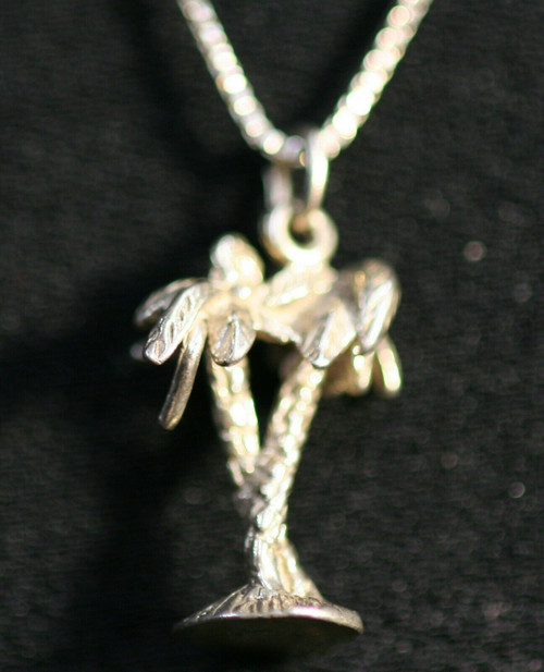 Pre-Owned Sterling Silver Necklace With Palm Tree Charm