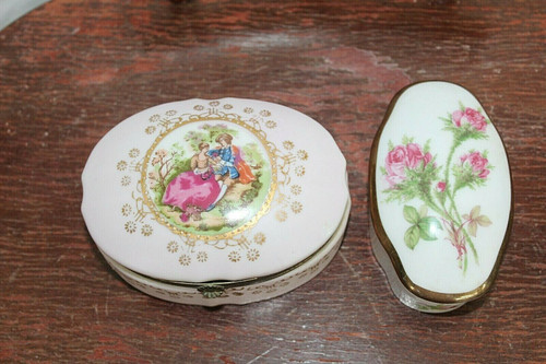 Lot of 2 Trinket Boxes One Royal Germany Brand & One Lefton Japan Brand