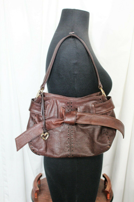 Pre-Owned Brighton U-048373 Brown Leather Purse W/ Large Bow