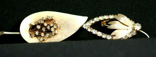 Vintage Lot Of 2 Gold Toned Leaf Brooches W/ Clear Stones