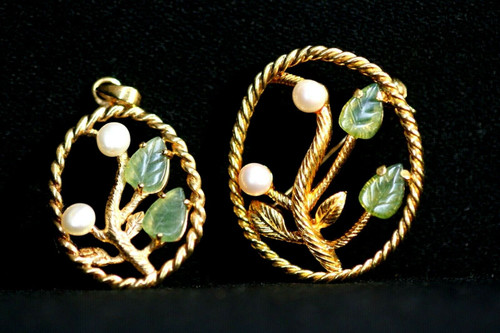 Vintage GE Wlind Oval Floral Brooch & Pendant Set W/ Faux Pearl/Green Glass