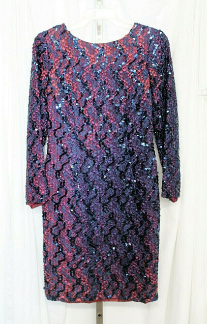 Vintage HW Collections Navy Blue Sequin Long Sleeved Formal Dress Sz. 10
