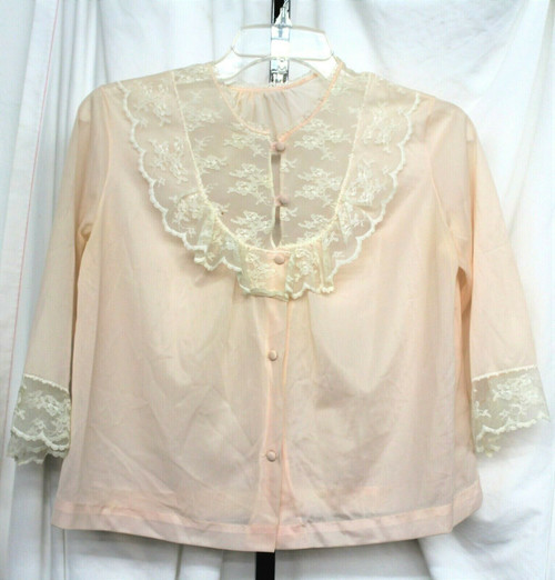 Vintage Women's Henson Richard Pink Bed Jacket Sz. S