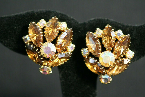 Vintage Unbranded Gold Toned Amber/Clear Rhinestones Clip Earrings