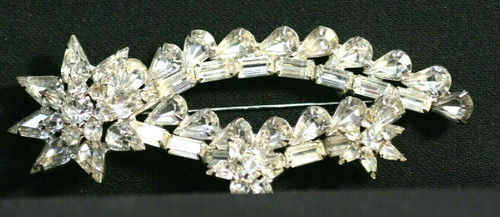 Vintage Unbranded Silver Toned Clear Rhinestones Large Brooch 118 mm x 50 mm