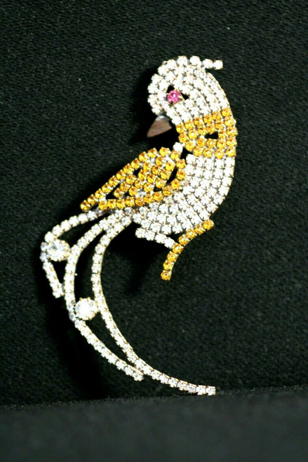 Vintage Unbranded Women's Bird Of Paradise Brooch W/ Colored Stones
