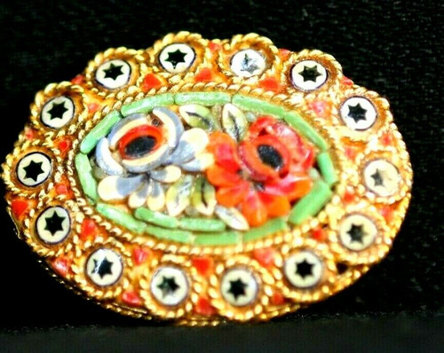Antique Gold Toned Micro Mosaic Floral Flower Brooch