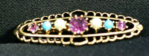 Vintage Emmons Gold toned Brooch W/ Teal, white & Purple Colored Stones