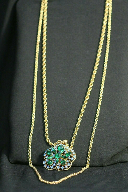 """Vintage Gold Toned Lisner Double Strand Draping Pendant Necklace 41"""""""