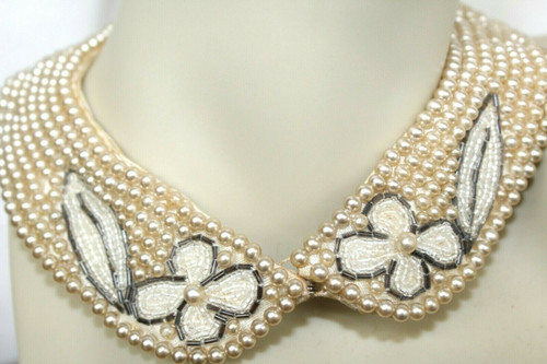 """Vintage Hand Beaded Ivory Faux Pearls Collar 15"""" x 1.25"""" At Widest Point"""