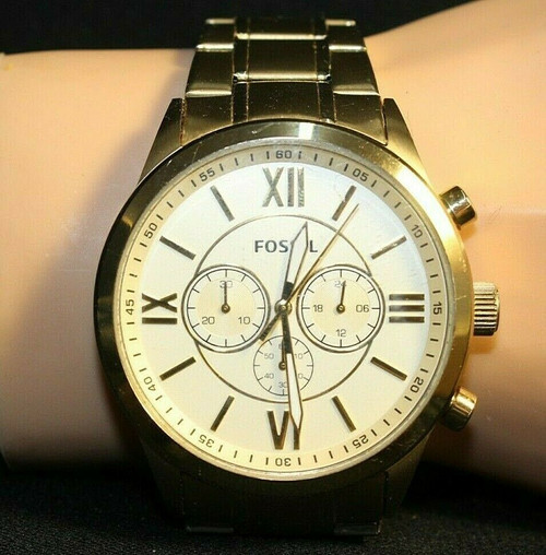 """Pre-Owned Men's Fossil Gold Toned Wristwatch W/ Gold Face BQ1182 7.5"""""""