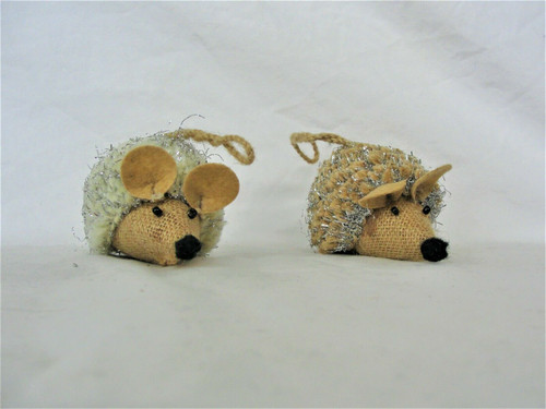 Shiraleah Chicago Set of Two Glittery Hedgehog Ornaments, Gift Boxed! New!