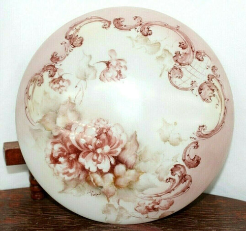 Limoges France Porcelain Round Jewelry/Trinket Box W/ Lid Painted By L. Farlow