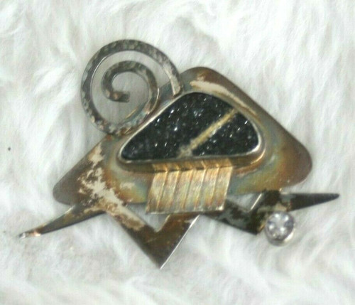 Thunderstorm Comin! Sterling Silver Brooch By Diane Rennie W/ Psilomelane Stone
