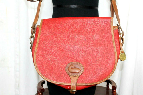 Vintage Dooney & Bourke All Weather Red Pebbled Leather Cross Body Purse