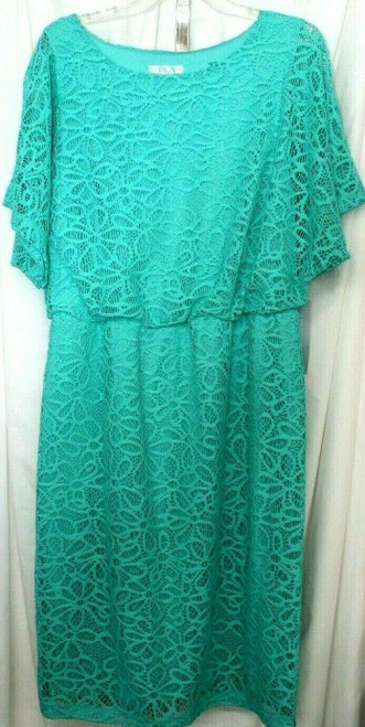 NWT Women's London Times Short Sleeved Turquoise Lace Dress Sz. 14W