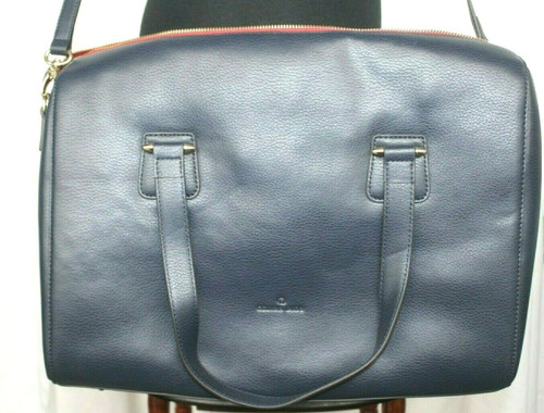 Pre-Owned Celine Dion Collection Leather Triad Large Satchel In Blue W/ Bag