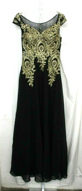 NWT Women's Butmoon Black Sleeveless Formal W/ Gold Accents See Measurements