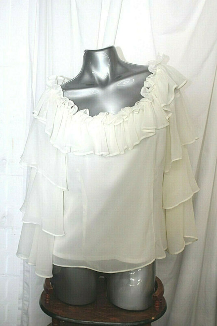 Pre-Owned Women's Julian Taylor Ivory Sheer Tiered Blouse No Size Tag
