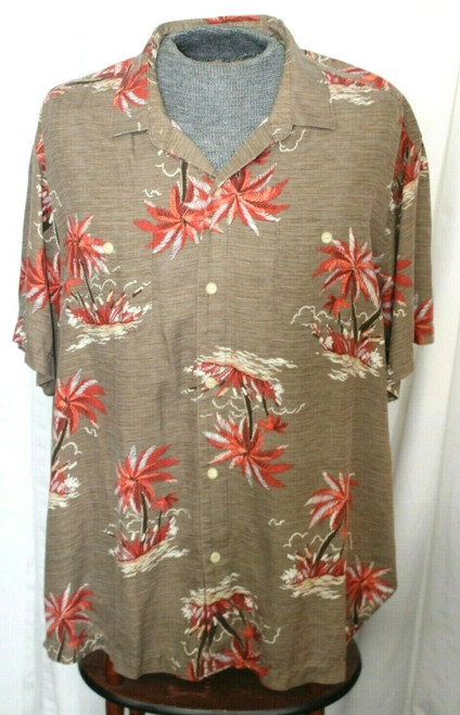 Pre-Owned Men's Tommy Bahama Button Front Palm Tree Silk Shirt Sz. XXL