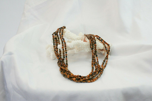 Tiger Eye Six Strand Necklace Square Natural Stone Beads