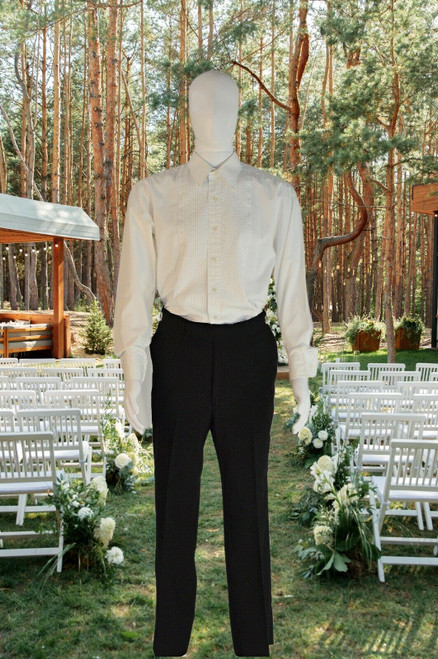Vintage White Tuxedo Shirt, Cotton Pleated Front Union Made, Lion Of Troy L