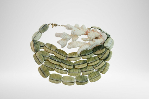 Chico's Green and Brown Chunky Beaded Statement Necklace Adjustable Length